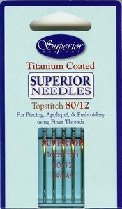 Quilting: Superior Topstitch Machine Needle Size 80/12 5ct (Titanium Sewing Machine Needles)