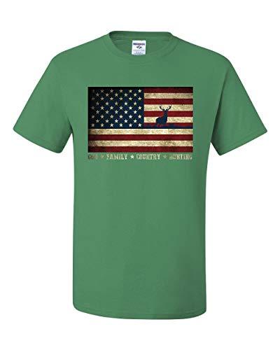 God Family Country Hunting T-Shirt American Flag Deer Buck Hunt Tee Shirt Green ()