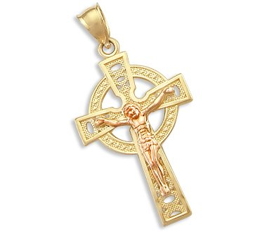 Amazoncom 14k Yellow and Rose Gold Celtic Cross Crucifix Pendant