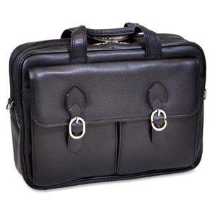 Double Compartment Laptop Case, Leather, Mid-Size, Black - HYDE PARK | McKlein - 15735C
