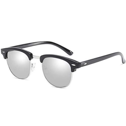 Dollger Classic Retro Polarized Sunglasses Brand Designer Half Frame Horn Rimmed Vintage Mirrored Sunglasses (Sliver Lens+ Gloss Black Frame)