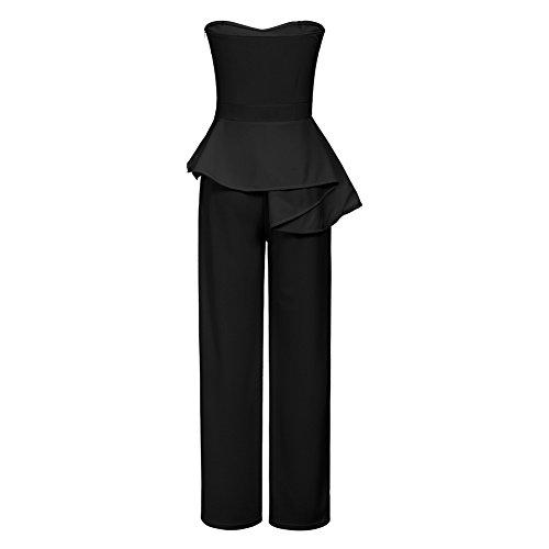 Womens Sexy Off Shoulder Strapless High Waist Peplum Ruffle Wide Leg Long Pants Jumpsuit Romper Black, XX-Large