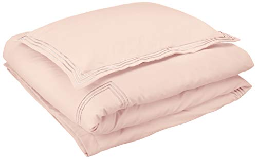 AmazonBasics Embroidered Hotel Stitch Duvet Cover Set - Premium, Soft, Easy-Wash Microfiber - Twin/Twin XL, Blush Pink