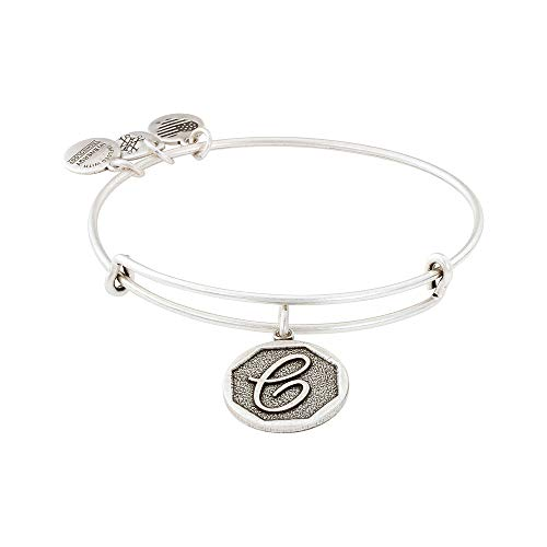 "Alex and Ani Rafaelian Silver-Tone Initial C Expandable Wire Bangle Bracelet, 2.5"" from Alex and Ani"