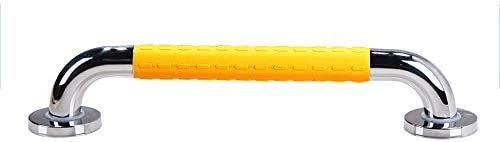 ステンレス手すり、滑り止め付きのバスルームバランスバー、安全サポートアームレスト-高齢者用タオル掛け,Yellow-48cm