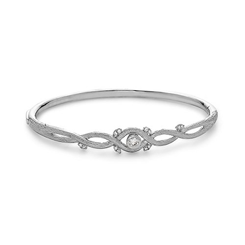 18K White Gold 0.18 Cttw Diamond Twisted Stem Style Bangle Bracelet (H Color, SI1 Clarity) by Socheec