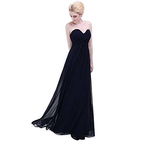 Esvor Sweetheart Bridesmaid Chiffon Prom Dress Long Evening Gown Navy 16