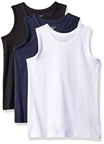 - Amazon Essentials Big Boys' 3-Pack Tank, Black Beauty/Bright White/Navy Blazer, L