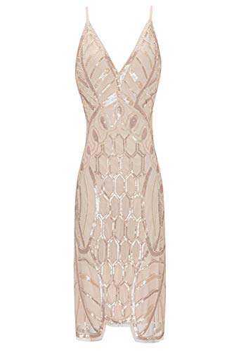 Metme Women's 1920s V Neck Sexy Straps Gatsby Party Dress Vintage Sequin for Evening Prom,Apricot,X-Large ()