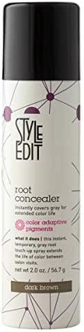 Style Edit Root Concealer Touch Up Spray | Instantly Covers Grey Roots | Professional Salon Quality Cover Up Hair Products for Women |Dark Brown 2 Ounce