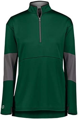 Augusta Sportswear Ladies Sof-Stretch Pullover, Forest/Carbon, L