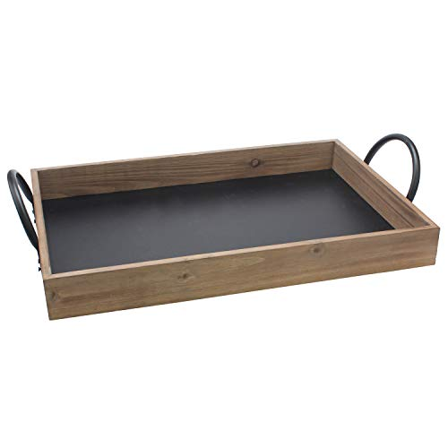 Tray Rectangular Wooden (Stonebriar Rectangle Natural Wood Serving Tray with Writable Chalkboard Base and Metal Handles, Unique Butler Tray)