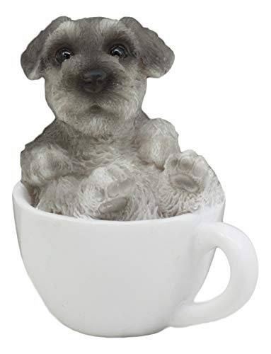 (Ebros Realistic Mini Adorable Schnauzer Dog Teacup Statue 3