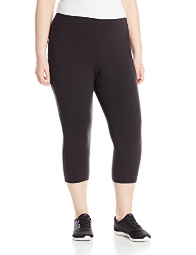 (Just My Size Women's Plus-Size Stretch Jersey Capri, Black, 2X)