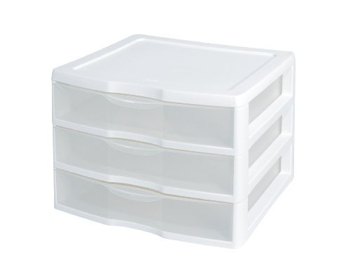 (Sterilite 3-Drawer Organizer - ClearView Wide 2093 (White / Clear) (10.25