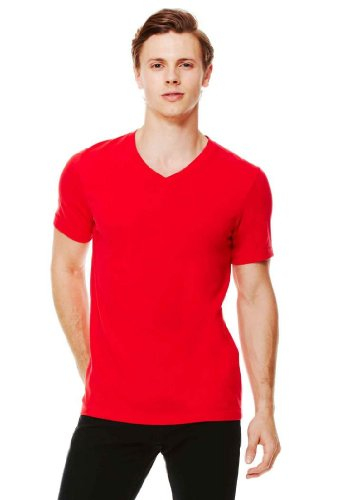 [Bella 3005 Unisex Jersey Short Sleeve V-Neck Tee - Red, Extra Small] (Co Fitted T-shirt)