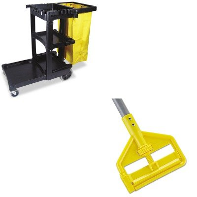 KITRCP617388BKRCPH145 - Value Kit - Rubbermaid Invader Fiberglass Side-Gate Wet-Mop Handle (RCPH145) and Rubbermaid Cleaning Cart with Zippered Yellow Vinyl Bag, Black (RCP617388BK) by Rubbermaid