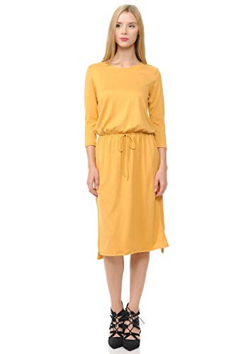 (iconic luxe Women's Relaxed Midi Dress with Elastic Waist Large Heather Mustard)
