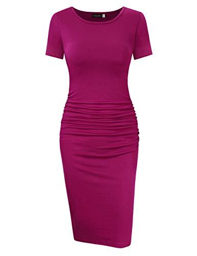 GloryStar Women's Long Sleeve Ruched Bodycon Midi Sheath Pencil Dress (XL, Short Sleeve Fuchsia) ()