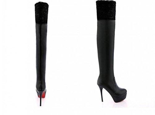 YCMDM donne i nuovi stivali ginocchio Martin Lace Hollow testa rotonda Donne Stivali , black , 37