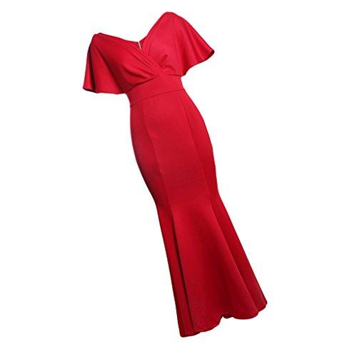 Cena Noche Nocturna s Dama Maxi Ropa Mujeres Baoblaze de Vestido Club Fiesta rojo Novia Honor FPHvqW4Tw