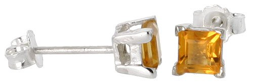 Square Princess Cut Natural (Sterling Silver Natural Citrine Stud Earrings 4mm Princess Square Cut Basket Setting)