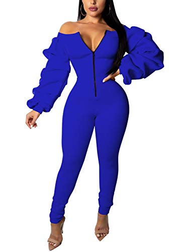 Gobought Womens Bodycon Jumpsuit Off Shoulder Long Sleeve Front Zipper One Piece Rompers Outfit (XX-Large, Blue)