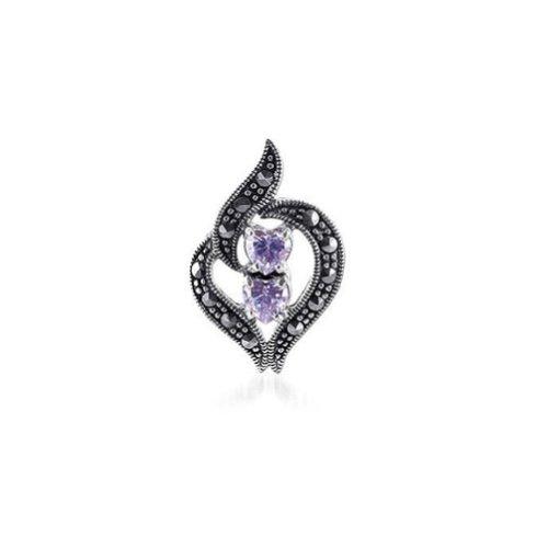Gem Avenue 925 Sterling Silver Lavender Cubic Zirconia Heart Shape Pendant with Marcasite - Marcasite Shape Heart
