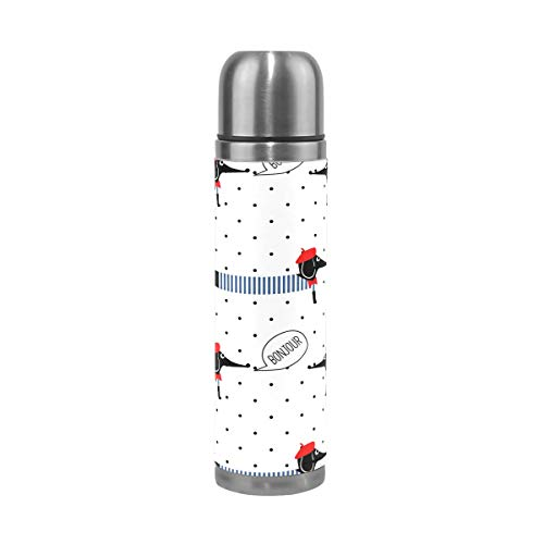 Stainless Steel Water Bottle Double Wall Vacuum Insulated Travel Coffee Mug Leak Proof Thermos BPA Free with Leather Cover 17 oz for Office Home Polka Dots French Style Dogs Dachshund