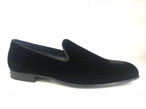 MORESCHI pantofolina Uomo in Velluto Nero Fondo Cuoio