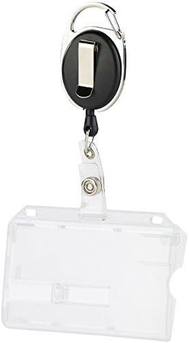 60-cm-Jojo-Befestigungs-Clip Ausweishülle aus Hartplastik 10er-Set