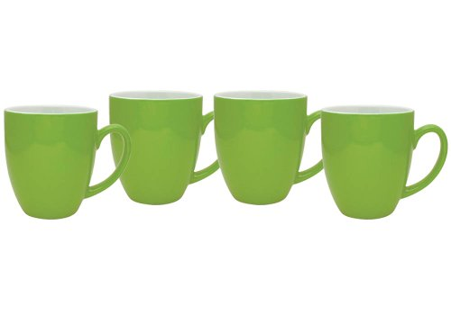 Culver 16-Ounce Bistro Ceramic Mug, Lime, Set of 4 Lime Green Mug