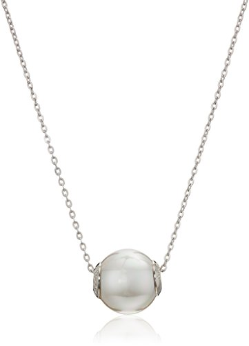- Majorica 12mm White Round Pearl On A Sterling Silver Chain Necklace, 16
