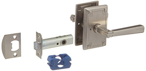 [Craftsman Style Lever Door Set With Rectangular Rosettes Right Hand Privacy In Satin Nickel. Door Hardware.] (Emtek Rectangular Rosette)