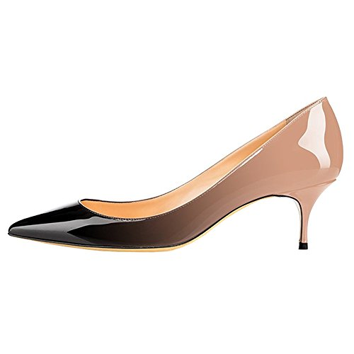 Medium Short Heel Womens (June in Love Womens Kitten Heels Short Slim Heel Shoes Pointy Toe Daily Pumps Nude Black 8 US)