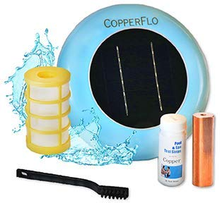 CopperFlo Solar Pool Ionizer - High Capacity | 85% Less Chlorine | Lifetime Replacement Warranty | Kill Algae | Longer Lasting Copper Anode | 25% More Ions | Keeps Pool Cleaner | Up to 40,000 Gal (Best Solar Pool Covers 2019)