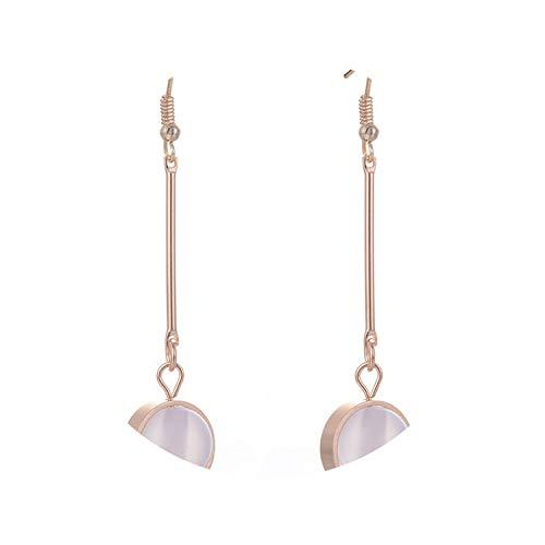 Round Stone Beads Charm 2 Colors Long Stick Pendant Ear Hook Small Circle Dangle Drop Earrings ()