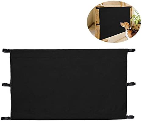 Folding Dog Gate Pet Fence Dog Safety Net Safety Guard Gate Retractable Baby Gate Oxford Cloth 1680D for Indoor Outdoor Stairway Doorway43.31x35.83in