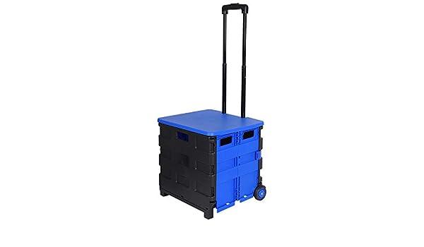 E-starain Carrito de Compras Carro de Compras 4 Ruedas Plegale Azul 42X40.5X38cm: Amazon.es: Hogar