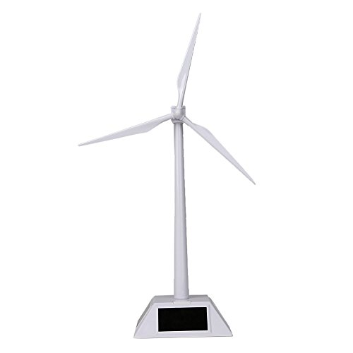 TATEELY Solar Powered 3D Windmill Assembled Model Education Fun Kids Toy Gift ABS Plastics Wind Turbine White for Children Toys Home Decor Garden Ornament