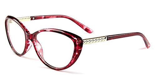 COMPUTER Optical Blue Light Blocking Anti-fatigue Cat Eye Frame Clear Glasses (Purple Floral, Clear) (Frames Eyeglass Discount)