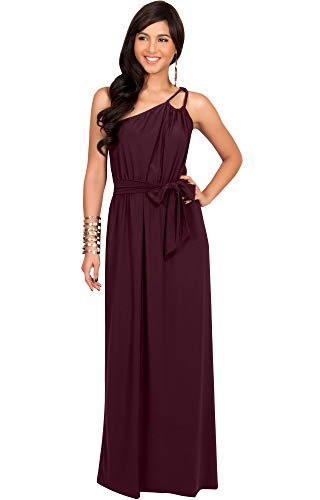 KOH KOH Womens Long Sleeveless One Shoulder Cocktail Evening Formal Bridesmaid Bridal Wedding Party Summer Sexy Cute Maternity Gown Gowns Maxi Dress Dresses, Maroon Wine Red M 8-10 ()