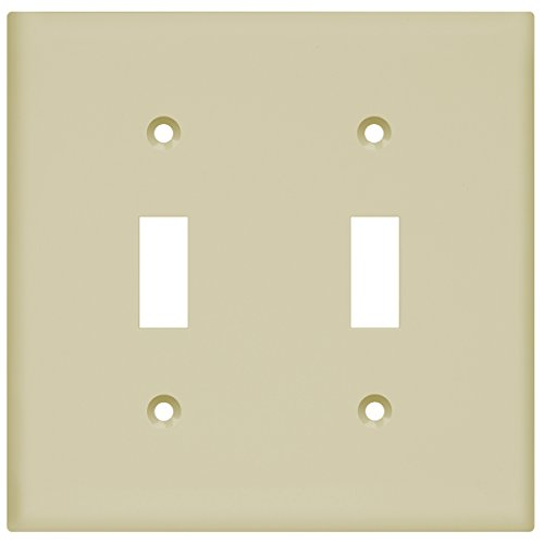Enerlites Toggle Light Switch Wall Plate, Standard Size, Polycarbonate Thermoplastic, 2 Gang, Ivory 8812-I
