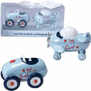 First Tooth and Curl Keepsake Set-2¼ x 3 INCH - BOY/Race Car/Airplane/Baby Shower/New Baby/New Grandchild