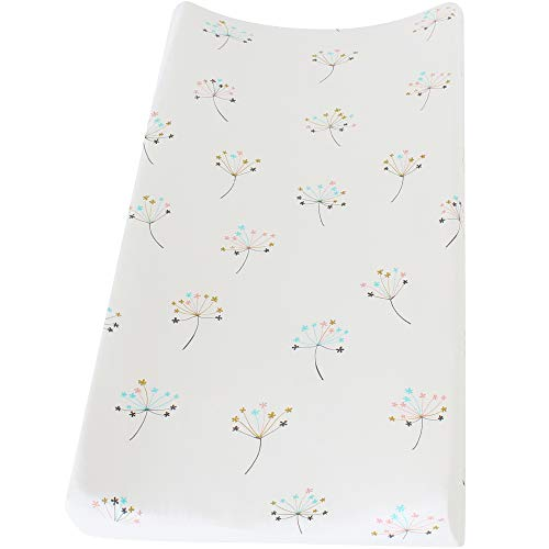 LifeTree Premium Cotton Changing Pad Cover - Dandelion Print Soft Diaper Changing Table Cover Cradle Sheet for Baby Boys or Girls,Fits Standard Contoured Changing Table Pads