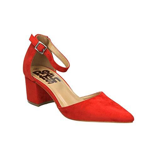 De Tacón Mujer Con Punta Rojo Para Cerrada Zapatos Refresh 69838 xOnvfR