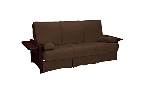 Valet Attached End Table Style Perfect Sit & Sleep Pocketed Coil Inner Spring Pillow Top Sofa Sleeper Bed, Queen-size, Mahogany Finished Arms, Microfiber Suede Chocolate Brown ()