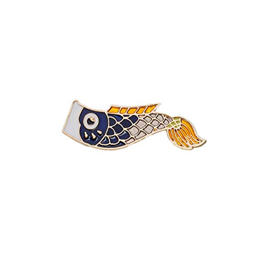 Beiswe Japanese Style Enamel Pins Vintage Cartoon Fish Pin Jewelry Broche for Femme Male Unisex Denim Jackets Backpack Accessories - La Jacket Denim Femme