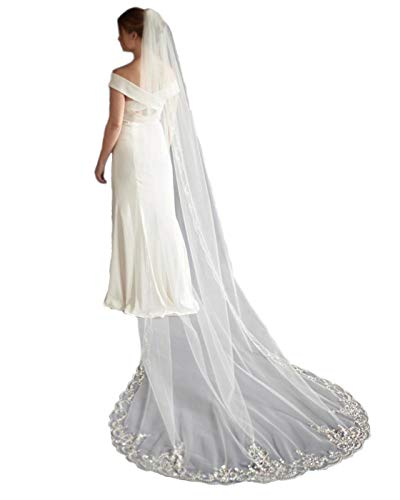 Passat White 2M Chapel Wedding Veils with Heavily Beaded Embroidery Pearls Sequins Rhinestones veil for brides VL-1029