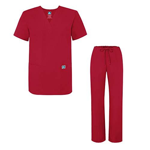 Rosso Con Medica Unisex Uniforme Camice red Pantaloni Set E Maglia Adar Uniformi xO6wvqWp